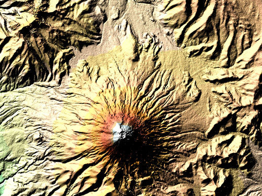 The digital elevation model of Cotopaxi volcano acquired by SRTM. With its resolution of 25 m x 25 m, is so rich in detail that you can even make out an inner crater with a diameter of 120 m by 250 m inside the outer crater (800 m x 650 m). Blue and green correspond to the lowest elevations in the image, while beige, orange, red, and white represent increasing elevations. (Image Credit: NASA Earth Observatory)