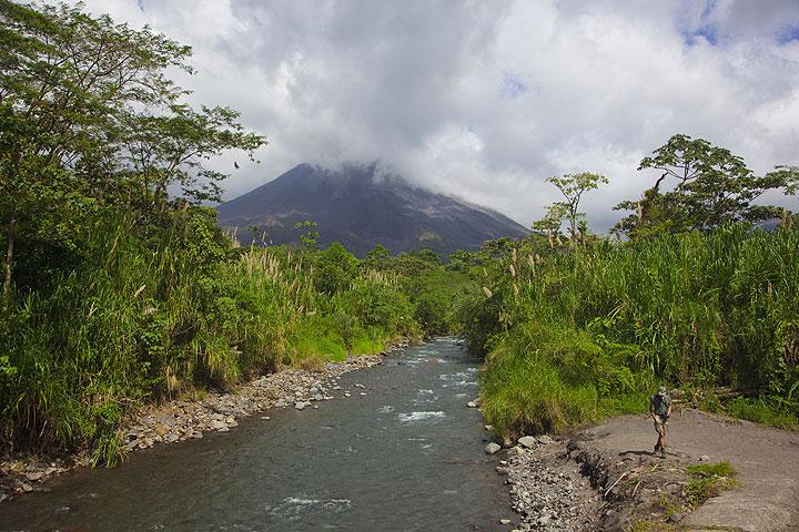 Arenal volcano seen from Rio Caliente