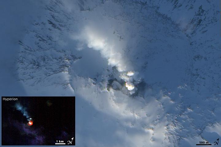 NASA Earth Observatory photo of Mt Erebus on 6 February 2009