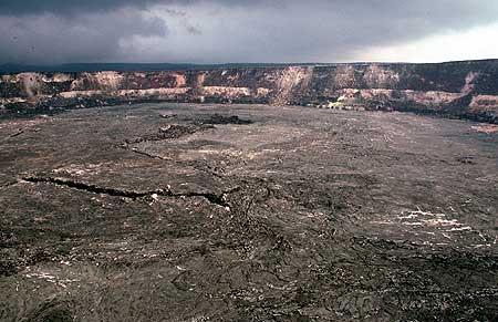 Haleamaumau crater in the center of the Kilauea caldera - the heart of Kilauea volcano