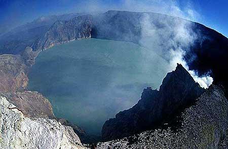The acid Kawah Ijen crater lake of Ijen volcano