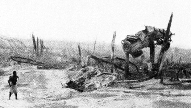 A jeep impaled on broken tree trunks illustrates the destuctive power of the pyroclastic surges generated by Lamington's eruption on 21 January 1958. From Taylor (1958)