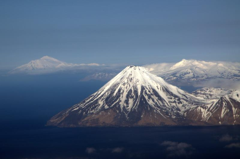 Kanaga Volcano Viewed from the west with Mt Moffet, Adak and Great Sitkin in the background (image taken May 8, 2010 by Cyrus Read, AVO/USGS)