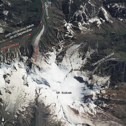 2002 NASA Space Shuttle image of Kasbek volcano. It marks the path of an avalanche and debris flow produced by collapse of a glacier the following month. (image courtesy: Earth Sciences and Image Analysis Laboratory, NASA Johnson Space Center, 2002)