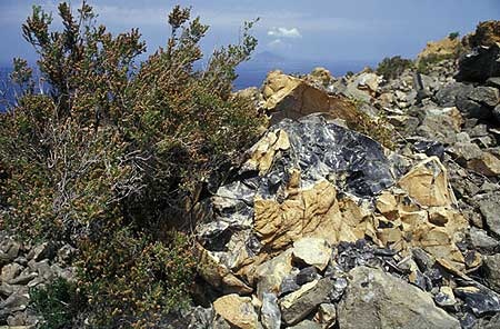 Obsidian block from the Rocce Rosse lava flow on Lipari Island