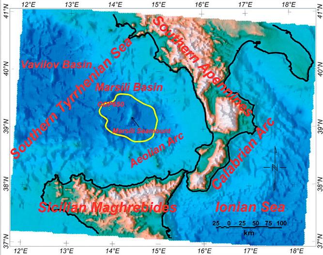 Location map of Marsili Seamount (from Nicolosi et al, 2006)
