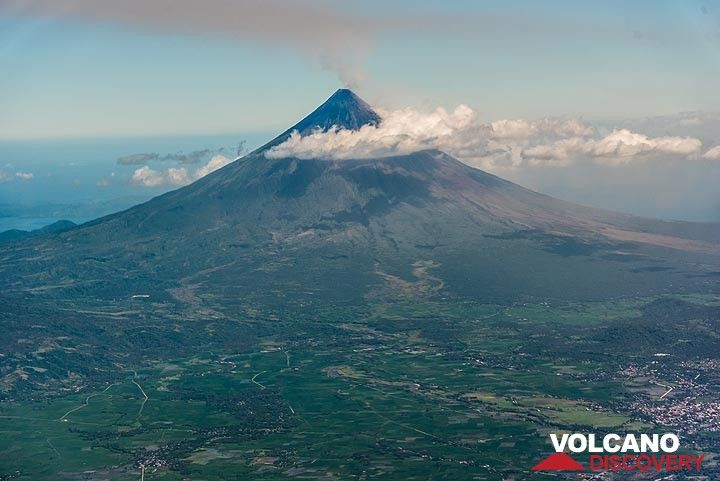 The majestic, perfectly symmetrical Mayon stratovolcano seen from the northwest during its eruption in 2018.