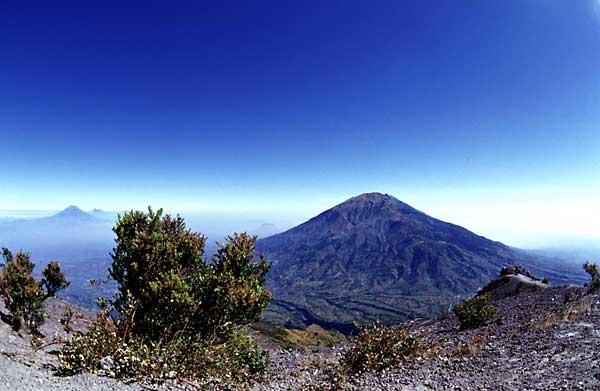 Merbabu volcano seen from the summit of Merapi