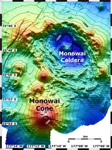 Map view shows Monowai submarine volcano at the lower left, with subsidiary cones on its northern flank. A large submarine caldera lies at the upper right lies to the NE. The contour interval is 100 meters, and the resolution of the bathymetry data is 25 meters. The proprietary bathymetry data were obtained by scientists of the New Zealand National Institute of Water and Atmospheric Research (NIWA) during a 2005 New Zealand/American NOAA Ocean Explorer research expedition to the Kermadec-Tonga arc. Image courtesy of Ian Wright, 2005 (NIWA; http://oceanexplorer.noaa.gov/explorations/05fire)