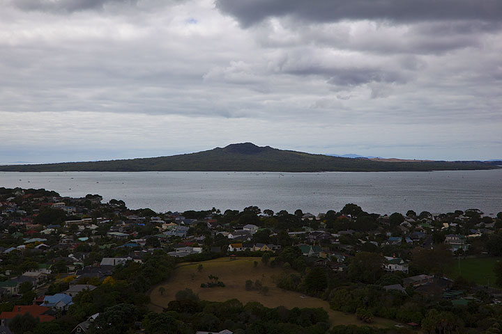 Rangitoto Island, part of the Auckland volcanic field, formed about 600 years ago during the largest eruption of the Auckland Field. View is from top of Mt Eden - an old crater close to the center of Auckland.