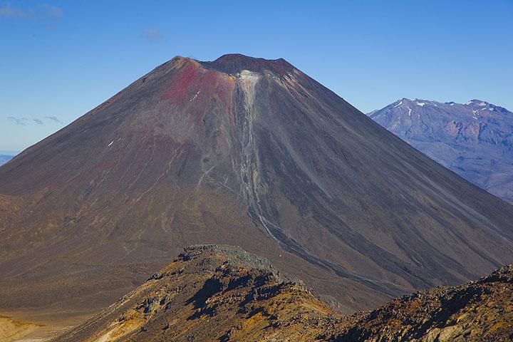 Ngauruhoe volcano seen from Tongariro; Ruhapehu volcano in the background.