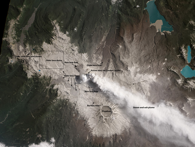 Puyehue-Cordón Caulle with the steam and ash plume from the rift zone eruption seen from space on 26 January 2012 (NASA Earth Observatory)