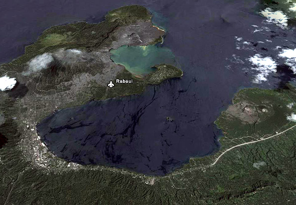 Google earth view of the Rabaul caldera
