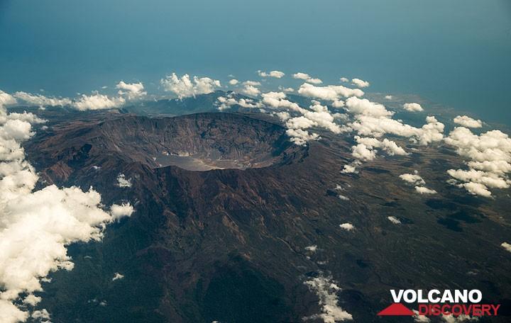 The large caldera of Tambora volcano seen from the air